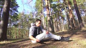 Male leg injury, stretching on a run