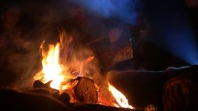 Male leg warming by the campfire into the night forest stock video footage
