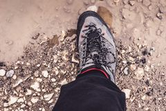 Male Leg Wearing Sportive Hiking Sneakers Shoes in Mud and Water. Trekking Footwear for Mountain Walking Trail. Male Leg Wearing Sportive Hiking Sneakers Shoes royalty free stock image