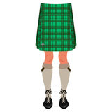 Male legs in kilt isolated on white Royalty Free Stock Photos