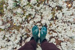 Male legs in rubber boots standing on mossy ground Stock Photos