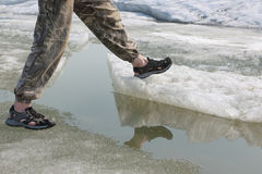 Male legs in sandals for rafting on ice of the thawing river. Male legs in sandals for rafting on ice of the river Stock Image