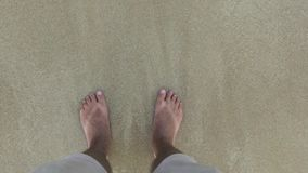 Male legs in shorts standing on sand and waves of sea water point of view. Male feet in sea waves and wet sand top view. Male legs in shorts standing on sand stock video