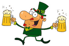 Male leprechaun running with beers Royalty Free Stock Photo
