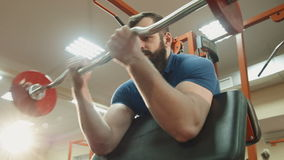 Male lift heavy weight bar stock video footage
