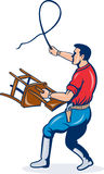 Male lion tamer with whip chair Royalty Free Stock Photo