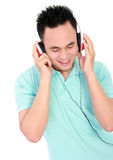 Male listening to music isolated Stock Photography