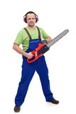 Male lumberyard worker with chainsaw Stock Image