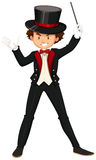 Male magician in black suit Stock Photo