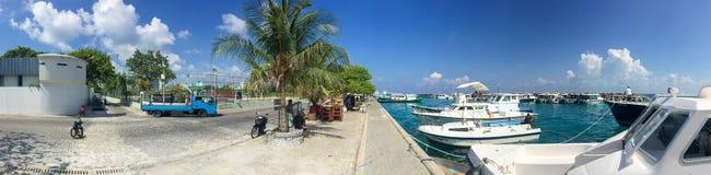 MALE, MALDIVES - CIRCA MARCH 2015: City skyline on a beautiful d Royalty Free Stock Photo