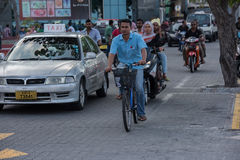 MALE, MALDIVES - FEBRUARY, 13 2016 - Heavy traffic in the street before evening pray time Stock Photos
