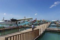 Male Maldives - June 14, 2015 : Seaplane harbor of any Maldivian Stock Image