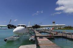 Male Maldives - June 14, 2015 : Seaplane harbor of any Maldivian stock photos