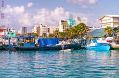 MALE, MALDIVES - MARCH 8, 2015: Beautiful cityscape from the oce. An. Male' is the Maldivian capital Stock Photo