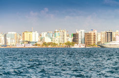 MALE, MALDIVES - MARCH 8, 2015: Beautiful cityscape from the oce. An. Male' is the Maldivian capital Royalty Free Stock Images
