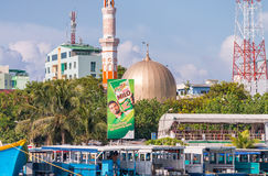 MALE, MALDIVES - MARCH 8, 2015: Beautiful cityscape from the oce. An. Male' is the Maldivian capital Stock Photography