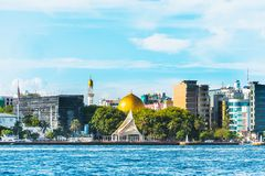 MALE, MALDIVES - NOVEMBER 18, 2016. MALE, MALDIVES - NOVEMBER 18, 2016: View of the city of Male - `the capital of the Maldives`. Copy space for text stock photos