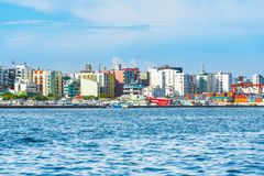 MALE, MALDIVES - NOVEMBER 18, 2016: View of the city of Male -. MALE, MALDIVES - NOVEMBER 18, 2016: View of the city of Male `the capital of the Maldives`. Copy royalty free stock photos