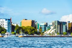 MALE, MALDIVES - NOVEMBER 18, 2016: View of the city of Male -. `the capital of the Maldives`. Copy space for text royalty free stock photos