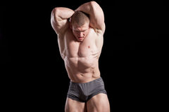 Male man bodybuilder. Sportsmen muscular biceps fitness Stock Photo
