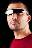 Male man with futurist glasses Stock Image