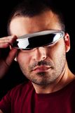 Male man with futurist glasses Royalty Free Stock Photos