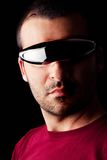 Male man with futurist glasses Stock Photos
