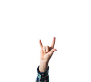 Male, man, hipster, in plaid shirt,  hand raised showing a heavy Stock Photo
