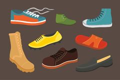 Male man season shoes in flat style. Men boots isolated set vector illustration Royalty Free Stock Image