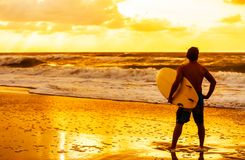 Male Man Surfer & Surfboard Sunset Sunrise Beach Stock Photography