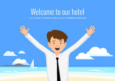 Male manager of the hotel welcomes its guests. Stock Photos