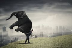Male manager lifting an elephant on uphill Stock Photo