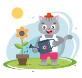 Cat farmer caring for his garden. cute character. vector illustration