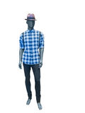 Male mannequin dressed in plaid shirt and black jeans Royalty Free Stock Photography