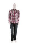 Male mannequin dressed in shirt and jeans Stock Photography