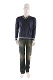 Male mannequin dressed in sweater and jeans. And isolated on white Royalty Free Stock Image