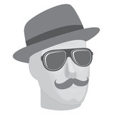 Male mannequin  head in sunglasses and hat Royalty Free Stock Image