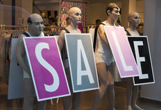 Male mannequins inside store. Stock Images