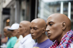 Male mannequins inside store. Royalty Free Stock Images