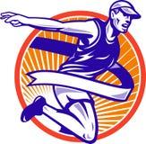Male Marathon Runner Running Retro Royalty Free Stock Photography