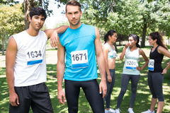 Male marathon runners in the park Stock Images
