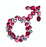 Male mars gender sign of colorful jewels. Royalty Free Stock Photos
