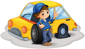 A male mechanic fixing the yellow car. Illustration of a male mechanic fixing the yellow car on a white background Stock Photos