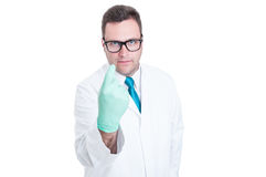 Male medic or doctor calling for appointment gesture Stock Image