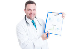Male medic smiling and showing prediction statistics on clipboar Stock Photo
