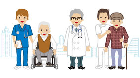 Male Medical Occupation team and elderly men Cityscape background.  Stock Image