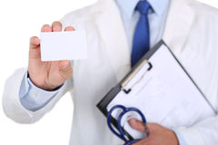 Male medicine doctor hand holding blank calling card Stock Photography
