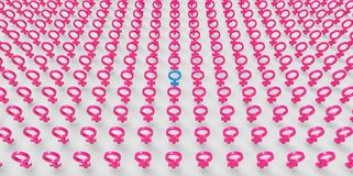 Male men leading army 3D pink female women feminism equality sex symbols isolated on plain white background Royalty Free Stock Photos