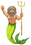 Male mermaid holding trident Royalty Free Stock Image