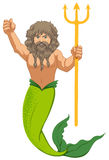 Male mermaid with the trident Royalty Free Stock Images